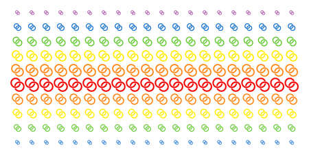 Wedding Rings icon spectrum halftone pattern. Vector items arranged into halftone grid with vertical rainbow colors gradient. Constructed for backgrounds, covers,