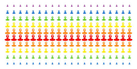 Unknown Person icon rainbow colored halftone pattern. Vector shapes organized into halftone matrix with vertical spectrum gradient. Constructed for backgrounds, covers,