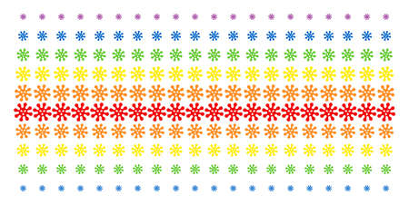 Virus icon spectrum halftone pattern. Vector symbols organized into halftone grid with vertical spectrum gradient. Designed for backgrounds, covers, templates and abstract compositions. Illustration