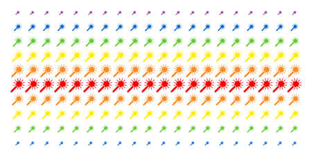Wand Magic Tool icon rainbow colored halftone pattern. Vector symbols organized into halftone array with vertical spectrum gradient. Designed for backgrounds, covers,