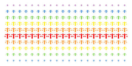 Weight Comparing Person icon rainbow colored halftone pattern. Vector shapes arranged into halftone array with vertical spectrum gradient. Designed for backgrounds, covers,