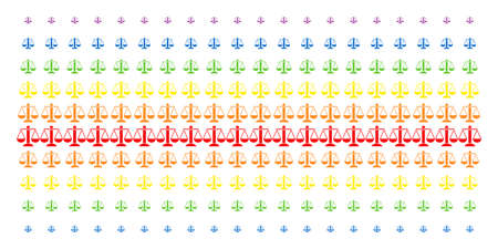 Weight Scales icon rainbow colored halftone pattern. Vector shapes organized into halftone matrix with vertical spectral gradient. Constructed for backgrounds, covers,