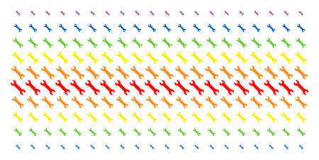 Wrench icon spectral halftone pattern. Vector symbols arranged into halftone grid with vertical rainbow colors gradient. Constructed for backgrounds, covers, templates and abstraction compositions.