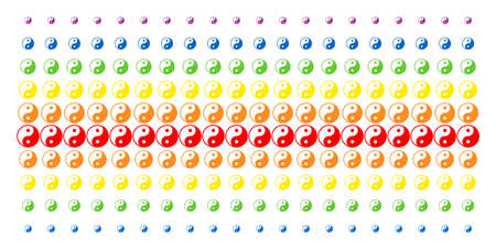 Yin Yang icon rainbow colored halftone pattern. Vector objects arranged into halftone matrix with vertical spectrum gradient. Designed for backgrounds, covers, templates and abstraction concepts. Illustration