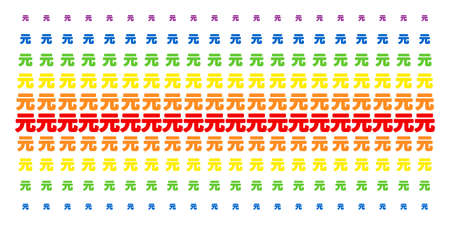 Yuan Renminbi icon spectral halftone pattern. Vector symbols arranged into halftone array with vertical spectral gradient. Designed for backgrounds, covers, templates and abstract concepts. Illustration