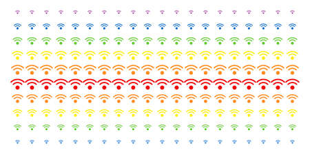 WiFi icon rainbow colored halftone pattern. Vector objects arranged into halftone matrix with vertical spectrum gradient. Constructed for backgrounds, covers, templates and abstraction compositions. Illustration