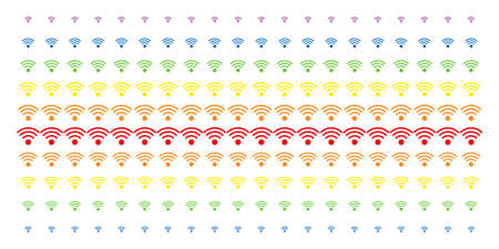 WiFi Source icon spectral halftone pattern. Vector symbols arranged into halftone grid with vertical spectrum gradient. Constructed for backgrounds, covers, templates and abstraction effects.