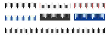 Horizontal ruler vector illustration on a white background. Designed for engineering applications.