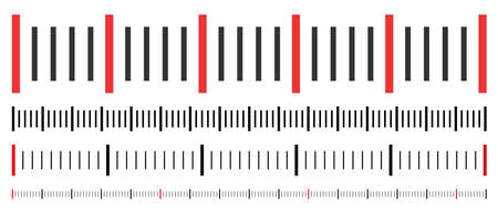 Horizontal rulers vector illustration on a white background. Designed for engineering applications.