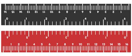 Illustration vectorielle de règle pouces et centimètres sur fond blanc. Conçu pour les applications d'ingénierie.