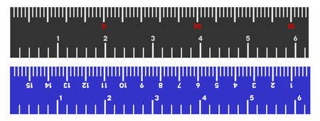 Pollici e centimetri righello illustrazione vettoriale su uno sfondo bianco. Progettato per applicazioni ingegneristiche. Vettoriali