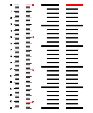 Illustration vectorielle de mètre vertical règle sur fond blanc. Conçu pour les applications d'ingénierie. Vecteurs