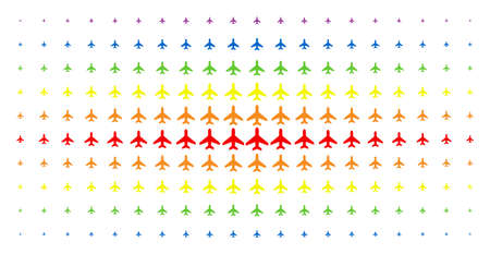 Air plane icon spectral halftone pattern. Vector air plane symbols are organized into halftone array with vertical spectral gradient. Designed for backgrounds, covers, Illustration