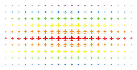 Airplane icon spectrum halftone pattern. Vector airplane shapes are organized into halftone grid with vertical spectral gradient. Constructed for backgrounds, covers, templates and abstract effects. Ilustração