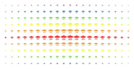 Alien invasion icon rainbow colored halftone pattern. Vector alien invasion symbols are organized into halftone grid with vertical rainbow colors gradient. Constructed for backgrounds, covers,