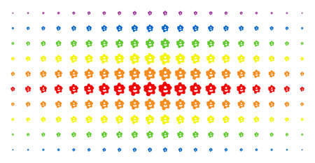 Amoeba icon rainbow colored halftone pattern. Vector amoeba objects are arranged into halftone matrix with vertical spectrum gradient. Designed for backgrounds, covers, Çizim