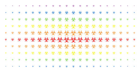 Biohazard icon rainbow colored halftone pattern. Vector biohazard pictograms are arranged into halftone matrix with vertical spectral gradient. Constructed for backgrounds, covers, Illustration