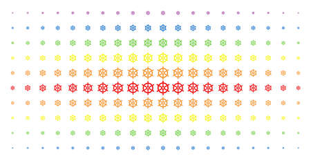 Boat steering wheel icon rainbow colored halftone pattern. Vector boat steering wheel items are arranged into halftone array with vertical rainbow colors gradient. Designed for backgrounds, covers, Çizim