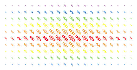 Break chain link icon rainbow colored halftone pattern. Vector break chain link shapes are arranged into halftone matrix with vertical spectral gradient. Designed for backgrounds, covers,