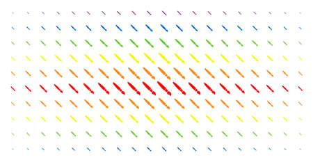 Brush icon rainbow colored halftone pattern. Vector brush shapes are arranged into halftone matrix with vertical rainbow colors gradient. Constructed for backgrounds, covers, Illustration