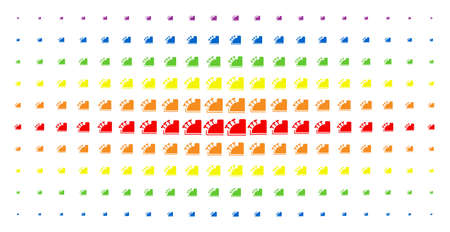 Cash register icon rainbow colored halftone pattern. Vector cash register symbols are organized into halftone array with vertical spectral gradient. Constructed for backgrounds, covers,