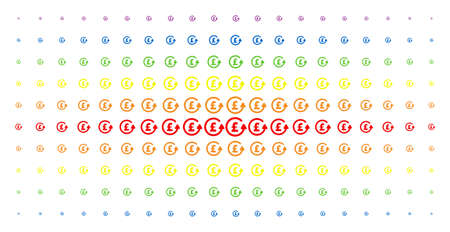 Chargeback pound icon spectrum halftone pattern. Vector chargeback pound objects are organized into halftone matrix with vertical rainbow colors gradient. Constructed for backgrounds, covers,