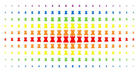 Chess tower icon rainbow colored halftone pattern. Vector chess tower items are organized into halftone matrix with vertical spectrum gradient. Constructed for backgrounds, covers, Illustration