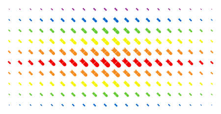 Aviation bomb icon rainbow colored halftone pattern. Vector aviation bomb items are arranged into halftone matrix with vertical spectral gradient. Constructed for backgrounds, covers, Illustration