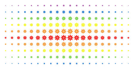 Abstract flower icon rainbow colored halftone pattern. Vector abstract flower symbols are organized into halftone matrix with vertical spectral gradient. Designed for backgrounds, covers,