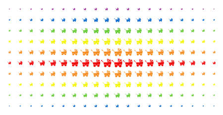 Baby carriage icon spectrum halftone pattern. Vector baby carriage shapes are arranged into halftone grid with vertical rainbow colors gradient. Designed for backgrounds, covers,
