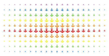 Anchor icon rainbow colored halftone pattern. Vector anchor objects are organized into halftone matrix with vertical spectrum gradient. Constructed for backgrounds, covers,
