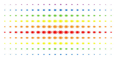 Bacteria icon rainbow colored halftone pattern. Vector bacteria items are organized into halftone array with vertical spectrum gradient. Designed for backgrounds, covers,