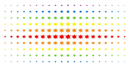 Bang icon spectrum halftone pattern. Vector bang objects are organized into halftone matrix with vertical rainbow colors gradient. Designed for backgrounds, covers, templates and abstraction effects.