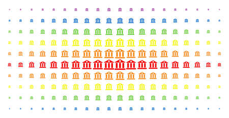 Bank building icon rainbow colored halftone pattern. Vector bank building pictograms are arranged into halftone array with vertical spectrum gradient. Designed for backgrounds, covers, Illustration