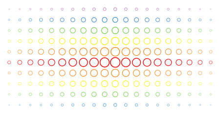 Circle bubble icon rainbow colored halftone pattern. Vector circle bubble symbols are arranged into halftone matrix with vertical rainbow colors gradient. Designed for backgrounds, covers, Illustration