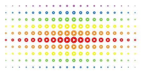 Automation icon rainbow colored halftone pattern. Vector automation shapes are organized into halftone matrix with vertical spectrum gradient. Constructed for backgrounds, covers,