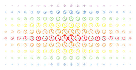 Clock icon rainbow colored halftone pattern. Vector clock items are organized into halftone grid with vertical spectral gradient. Constructed for backgrounds, covers, templates and abstract concepts. Illustration