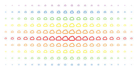 Cloud icon rainbow colored halftone pattern. Vector cloud items are arranged into halftone array with vertical spectral gradient. Constructed for backgrounds, covers, templates and abstract effects. Illustration