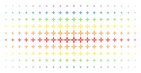 Collide arrows icon spectrum halftone pattern. Vector collide arrows shapes are arranged into halftone array with vertical spectral gradient. Constructed for backgrounds, covers,