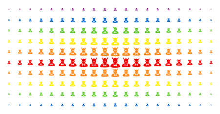 Devil icon rainbow colored halftone pattern. Vector devil symbols are organized into halftone array with vertical spectrum gradient. Constructed for backgrounds, covers, Illustration