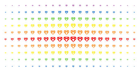 Diamond icon rainbow colored halftone pattern. Vector diamond objects are organized into halftone grid with vertical rainbow colors gradient. Constructed for backgrounds, covers, Reklamní fotografie - 100811202