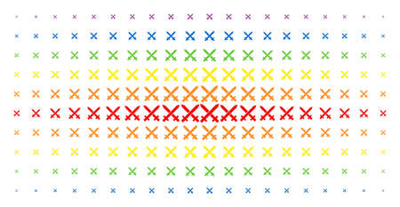 Crossing swords icon rainbow colored halftone pattern. Vector crossing swords pictograms are organized into halftone array with vertical spectrum gradient. Designed for backgrounds, covers, Ilustração