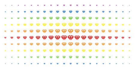 Diamond icon spectrum halftone pattern. Vector diamond objects are arranged into halftone matrix with vertical spectral gradient. Constructed for backgrounds, covers, templates and abstract effects.