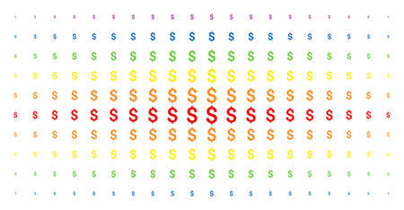 Dollar icon spectrum halftone pattern. Vector dollar items are organized into halftone array with vertical rainbow colors gradient. Constructed for backgrounds, covers, templates and abstract effects. Illustration