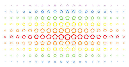 Contour pentagon icon rainbow colored halftone pattern. Vector contour pentagon shapes are arranged into halftone matrix with vertical spectral gradient. Designed for backgrounds, covers, Illustration