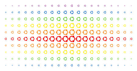 Cooperation icon spectrum halftone pattern. Vector cooperation pictograms are arranged into halftone grid with vertical spectral gradient. Constructed for backgrounds, covers,