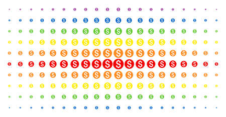Dollar coin icon rainbow colored halftone pattern. Vector dollar coin symbols are organized into halftone array with vertical rainbow colors gradient. Constructed for backgrounds, covers,