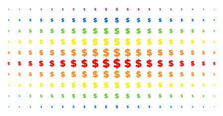 Dollar icon spectrum halftone pattern. Vector dollar symbols are organized into halftone matrix with vertical spectrum gradient. Constructed for backgrounds, covers, templates and abstraction effects. Illustration
