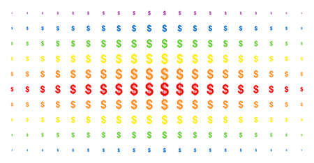 Dollar icon spectral halftone pattern. Vector dollar symbols are arranged into halftone matrix with vertical rainbow colors gradient. Designed for backgrounds, covers, Illustration