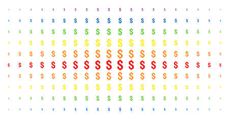 Dollar icon spectrum halftone pattern. Vector dollar symbols are arranged into halftone grid with vertical spectral gradient. Constructed for backgrounds, covers, templates and abstract effects.